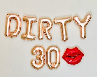 Rose Gold Dirty 30 Balloons, Dirty 30 Balloons, Dirty 30 Party, Dirty 30, 30th Birthday Party, 30, 30th Bday,Thirty and Flirty,30th Bday
