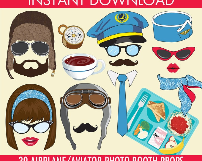 Airplane Photo Booth Props,  Aviator,Plane Party,Airplane Birthday, Jet Setter, 1st Birthday | Instant Download PDF - 39 DIY Printable Props