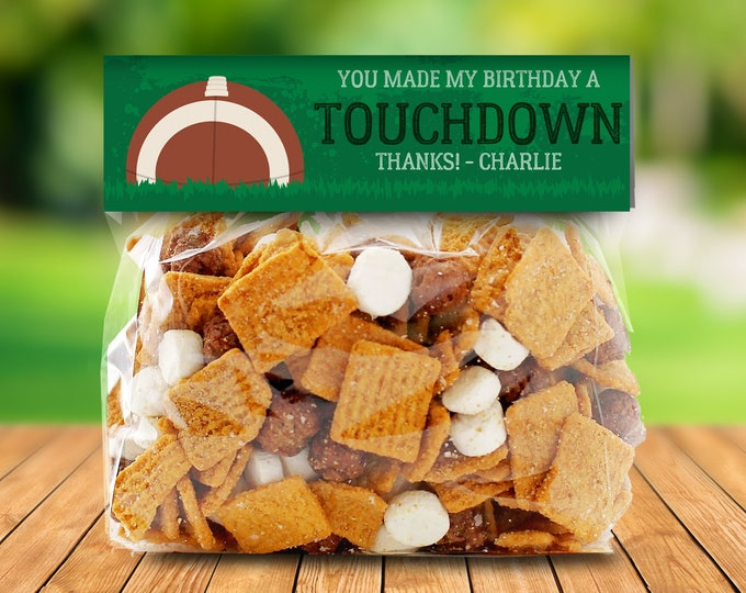 "Football - 6.5"" Treat Bag Topper - Football Party, Bowl Party, Football Decor 