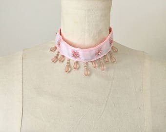 Pink beaded choker necklace, Valentines gift.
