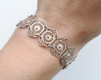 1930s Mexican 800 silver thin filigree bracelet / 30s antique filigree ethnic low silver link bracelet Mexico made / early bohemian jewelry