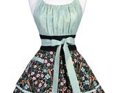 Flirty Chic Pinup Apron - Tropical Parrot Birds and Flowers - Womens Sexy Cute Retro Kitchen Apron with Pocket - Monogram Option