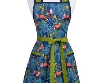 Woodland Foxes in Teal Blue and Green Stella Womens Vintage Cute Retro 50s Style Kitchen Apron with Personalized Monogram Option
