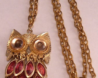 Pink Rhinestone Owl Necklace Dangling Feathers Articulated Jointed