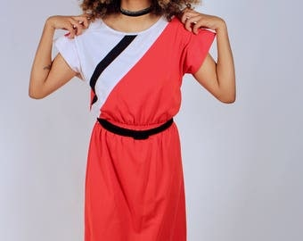 Vintage 1960's Red Colorblock Belted Knee Length Dress