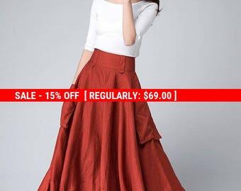 orange skirt, maxi skirt ,high waisted skirt, pocket skirt, circle skirt, flared skirt, cute skirt , Handmade skirt, Linen skirt (1501)