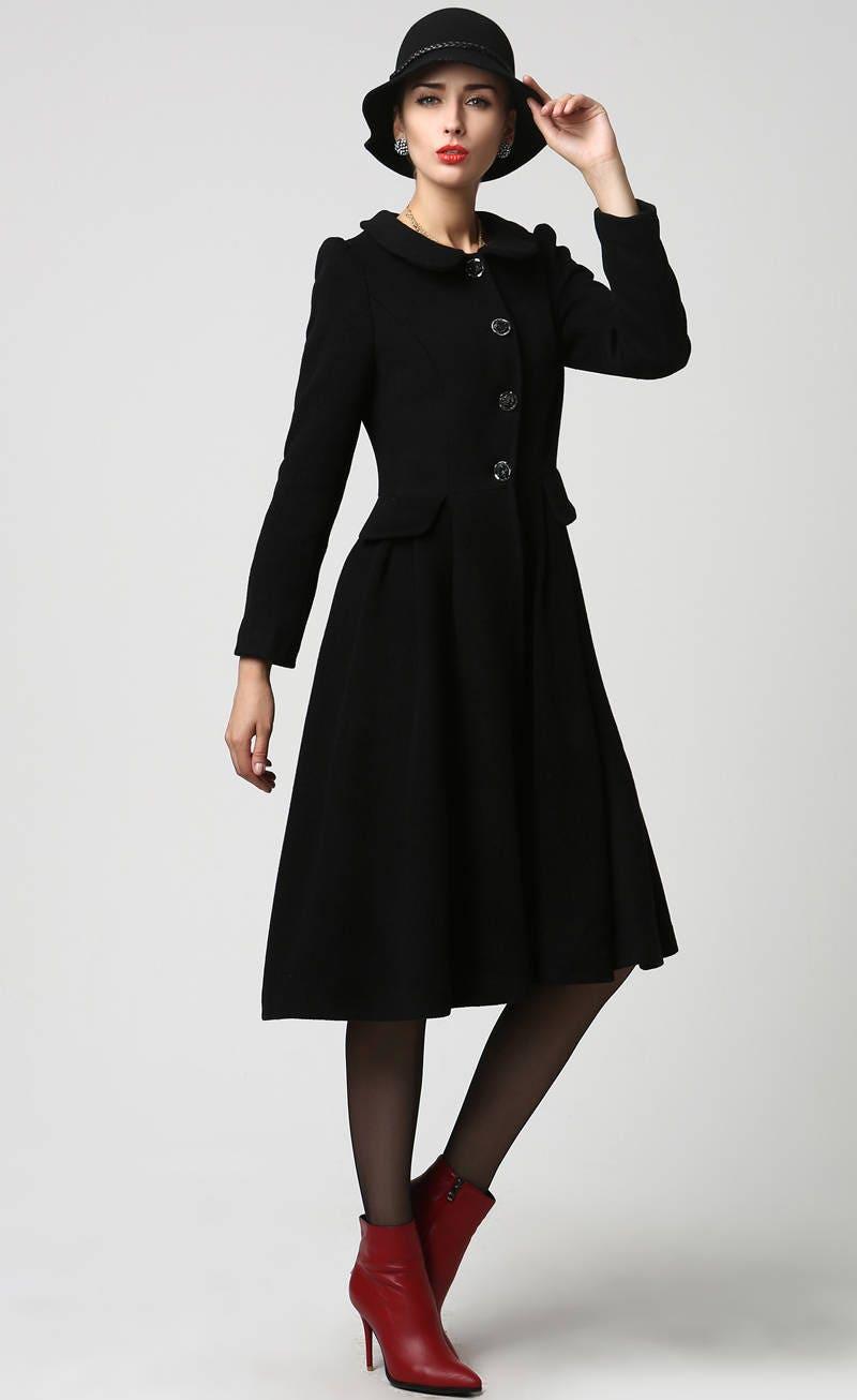 wool jacket black wool coat dress coat womens jackets long