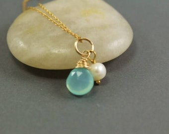 Aqua Chalcedony and Pearl Charm Duo ~ Bridal Party Gift ~ Gift for Her ~   Handmade Charms by Adonia Jewelry