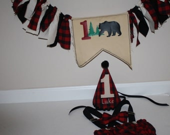 lumberjack banner lumberjack first birthday outfit cake smash outfit red  black plaid hat suspenders, diaper cover, bow tie, birthday hat