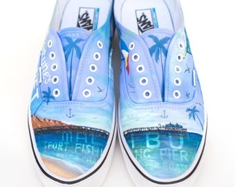 Custom Vans Shoes - Hand Painted Malibu California Theme