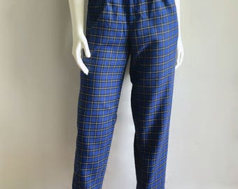 Vintage Women's 80's Blue Checkered Pants, High Waisted, Tapered Leg by Haberdasher (S)