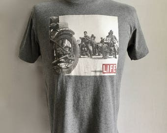 Vintage Men's 90's Biker T Shirt, Gray, Cotton, Short Sleeve by Life (M)