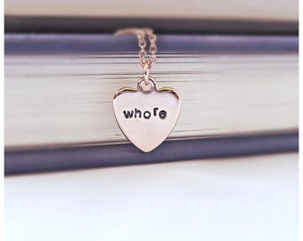 Whore, Funny Statement Jewelry, Rose Gold Dainty Necklace, Funny Bridesmaid Necklace, Sexy Gift for Girlfriend, Naughty Gift for Wife, Slut