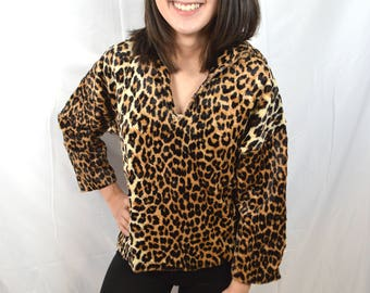 Vintage 1960s 60s Distressed Leopard Faux Fur Tunic Top