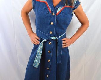 Cutest Vintage 1970s 70s Hippie Denim Summer Dress