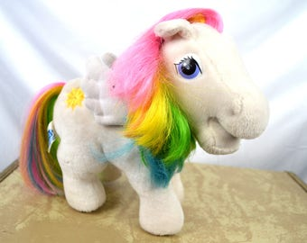 Vintage 1980s My Little Pony Plush Stuffed Animals - Hasbro Softies - Pegasus
