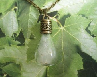 Slice of Heaven-Cottonwood Seed Teardrop Glass Reliquary Terrarium Pendant-2nd Anniversary Gift-Symbolizes The Truth-Nature's Art