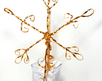 Golden Snowflake Tree Topper - x large classic metal handmade tree topper - Christmas snowflake - gold snowflake decoration - 112317Gb