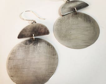 Large Round Sterling Silver Earrings