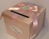 Wedding Card Box Rose Gold and Blush Pink/Nude Gift Card Box Money Box Holder--Customize your color/made to order (10x10x9)
