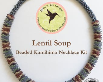Lentil Soup Necklace, A Fully Beaded Yatsu Kongoh Gumi Necklace With 5 Color Matte Frosted Lentils And Seed Beads, Beaded Kumihimo Kit