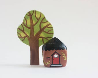 Miniature Brown House - gnome home, hobbit house, enchanted forest faerie house, paper clay sculpture, mini fairy house figurine