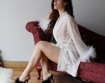 sheer silk robe with feather boa trim - BROOK silk chiffon bridal lingerie range - made to order