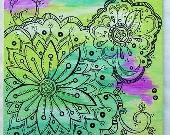 Original Art - Art Doodle - Doodle Decor - Acrylic Painting - Ink Doodle Art - Doodle Art - Green Pink Black