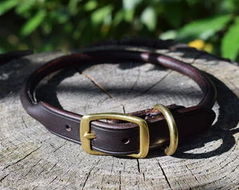 Rolled Leather Dog Collar - size M
