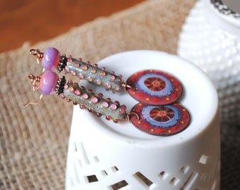 Pink Earrings, Artisan Enamel Earrings, Lampwork Glass Bead Earrings, Boho Earrings, Dotted Earrings, Unique Earrings, Valentine's Day Gift