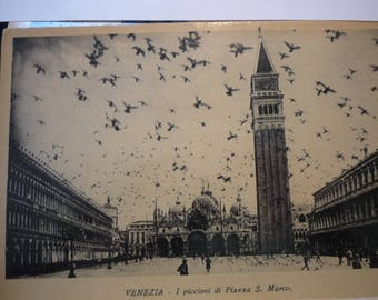 Vintage Venice - Pigeon Flock - Piazza St Marks and Campanile 1928 duotone photo postcard - beautiful - gift for travelers, scrapbook