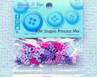 """Mini Pink and Purple Heart and Star Buttons """"Princess Mix"""" by Dress It Up - Sets of 90                                    09/17"""