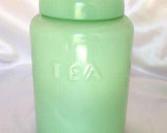 Vintage Jadeite Green Glass Tea Canister