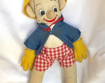 Vintage Pinocchio Stuffed Rag Doll