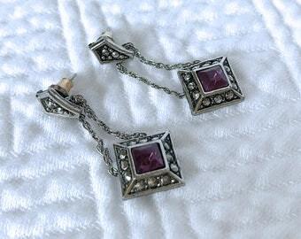 Vintage Purple Avon Dangle Earrings, Vintage Avon, Avon Earrings, Vintage Avon Earrings, Purple Earrings, Dangle, Purple, Earrings, Avon