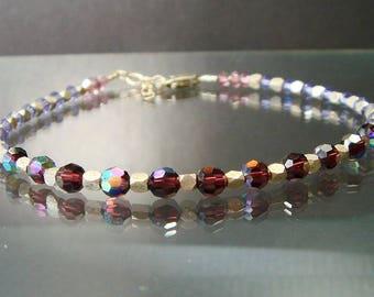 Hill Tribe & Swarovski Layering Bracelet, Fine Silver, Swarovski, Silver Bracelet, Shades of Purple Stacking, Layering Bracelet
