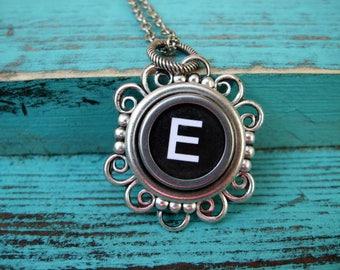 Antique Typewriter Key Necklace Initial E