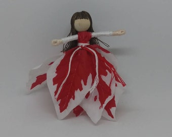 Red and White Christmas Fairy - Flower fairy - Christmas elf - Waldorf doll
