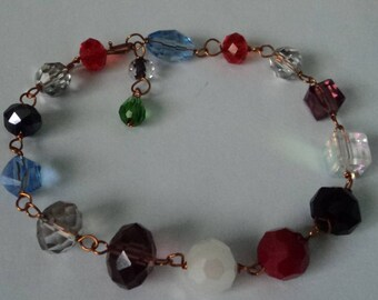 OOAK Various-Colored Crystals Adjustable Bracelet Wire-Wrapped