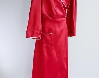 Silk, Maroon Monogrammed Dressing Gown - Sz L