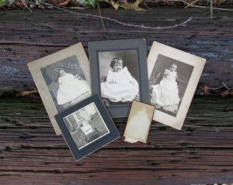 Vintage Baby Pictures Black and White Photographs Babies Children on Mat Board Five Photos
