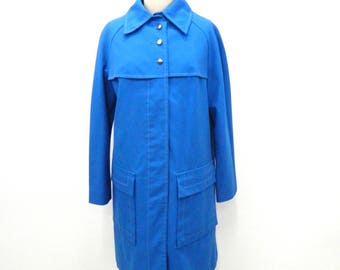 1960s Blue Mod Coat...Button Down Trench Coat...Top Coat...Car Coat...Cotton Blend Twill...White Top Stitching...Size Small - Medium