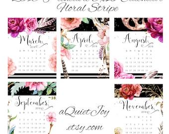8x10 2018 Floral Stripe Printable Desk Calendar. Instant Download.