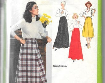 SIMPLICITY 9085 Size 46 Waist 44 Vintage 1970's Skirt Gored Knee Length Maxi Midi Retro Pattern