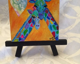 """Acrylic Giraffe Painting On 3"""" x 3"""" Canvas With Easel"""