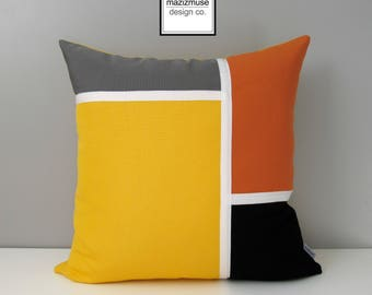 Decorative Yellow & Grey Outdoor Pillow Cover, Mid Century Modern Pillow Cover, Yellow Orange and Black Sunbrella Cushion Cover, Mazizmuse