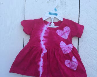 Pink Baby Dress, Baby Easter Dress, Easter Baby Dress, Pink Baby Gift, Baby Girl Gift, Baby Shower Gift, Pink Heart Baby Dress (6 months)