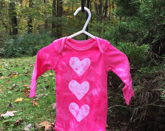 Featured listing image: Valentine's Day Baby Bodysuit, Valentine's Day Baby Gift, Pink Heart Baby Bodysuit, Baby Girl Gift, Pink Baby Gift, Baby Shower (3-6 months)