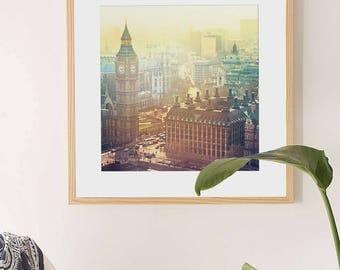 London Print // London Aerial Shot // Big Ben London // Travel Photography London Fine Art Print // Travel Room Decor // London Wall Art