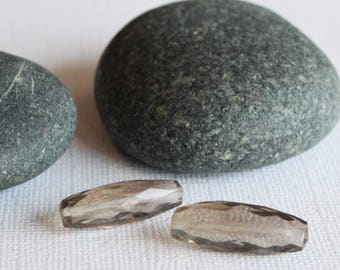 Faceted Smoky Quarts Drummel Beads -24mm